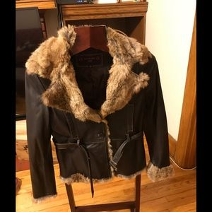 Real leather and fur jacket size S